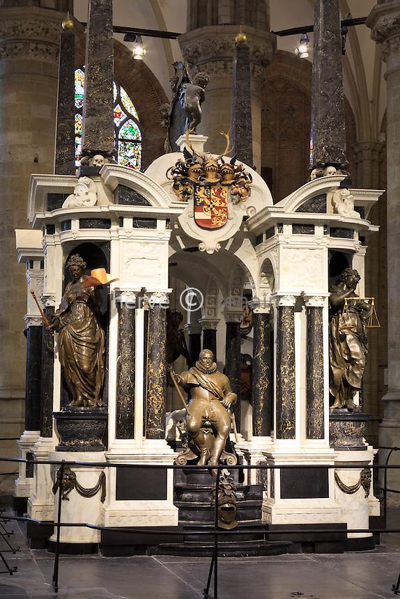 Pays-Bas, Delft, la Nouvelle église ou Nieuwe Kerk, le mausolée du prince Guillaume d'Orange // Netherlands, Delft, Nieuwe Kerk or New Church, the mausoleum of Prince William of Orange