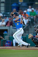 Jimmy Herron (8) of the Myrtle Beach Pelicans follows through on his swing against the Winston-Salem Dash at TicketReturn.com Field on May 16, 2019 in Myrtle Beach, South Carolina. The Dash defeated the Pelicans 6-0. (Brian Westerholt/Four Seam Images)