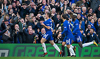 Cesar Azpilicueta of Chelsea celebrates his goal during the Premier League match between Chelsea and Watford at Stamford Bridge, London, England on 21 October 2017. Photo by Andy Rowland.
