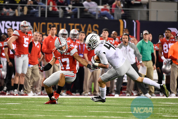 12 JAN 2015:  Danny Mattingly (46) of the University of Oregon intercepts a pass against Jalin Marshall (17) of the Ohio State University during the College Football Playoff National Championship held at AT&T Stadium in Arlington, TX.  Ohio State defeated Oregon 42-20 for the national title.  Jamie Schwaberow/NCAA Photos