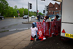 A souvenir seller's stand outside the stadium before Manchester United hosted Manchester City at Old Trafford. This was the 178th time the sides had met, with City looking to overtake rivals Liverpool in the race for the English Premier League title. City won the match 2-0 watched by 74,431 spectators.