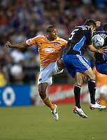 22 May 2008: Ricardo Clark of the Dynamo battles for the ball in the air with Ryan Cochrane during the first half of the game at Buck Shaw Stadium in San Jose, California.   San Jose Earthquakes and Houston Dynamo are tied 0-0 at halftime.