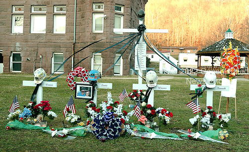 Philippi, WVa - January 7, 2006 -- Memorial display to the four miners who were residents of Philippi, West Virginia and their colleagues who were lost in the Sago Mine explosion, at the Barbour County Courthouse in Philippi, West Virginia on January 7, 2006.  .Credit: Ron Sachs / CNP