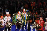 SCHAATSEN: HEERENVEEN: IJsstadion Thialf, 13-01-2013, Seizoen 2012-2013, Essent ISU EK allround, Eindpodium, Linda de Vries (NED), Jan Blokhuijsen (NED), Ireen Wüst (NED), Sven Kramer (NED), Håvard Bøkko (NOR), ©foto Martin de Jong