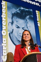 2006 Soccer Hall of Fame inductee Carla Werden Overbeck gives her acceptance speech at her enshrinement in the National Soccer Hall of Fame at Wright Soccer Campus, Oneonta, NY, on August 28, 2006.