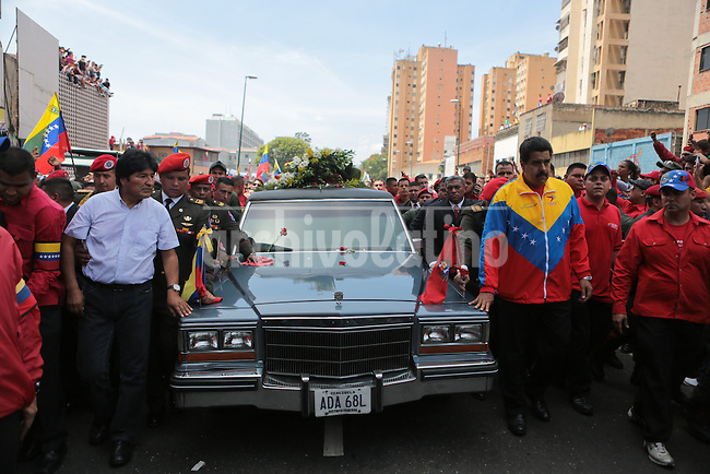 President of Bolivia Evo Morales, left, and Vice President of Venezuela Nicolas MAduro, during the funeral of Commander Hugo Chavez, Presdient of Venezuela during the last 14 years