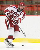 Chris Huxley (Harvard - 28) - The visiting Quinnipiac University Bobcats defeated the Harvard University Crimson 3-1 on Wednesday, December 8, 2010, at Bright Hockey Center in Cambridge, Massachusetts.