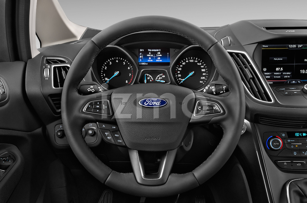 Car pictures of steering wheel view of a 2015 Ford C Max Titanium 5 Door Mini Mpv Steering Wheel