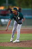 AZL Athletics Green relief pitcher Malik Jones (41) during an Arizona League game against the AZL Dodgers Lasorda at Camelback Ranch on June 19, 2019 in Glendale, Arizona. AZL Dodgers Lasorda defeated AZL Athletics Green 9-5. (Zachary Lucy/Four Seam Images)