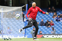 Watford goalkeeper, Heurelho Gomes, warms up ahead of kick-off during Chelsea vs Watford, Premier League Football at Stamford Bridge on 5th May 2019