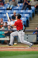 Erie SeaWolves right fielder Jake Robson (3) follows through on a swing during a game against the Binghamton Rumble Ponies on May 14, 2018 at NYSEG Stadium in Binghamton, New York.  Binghamton defeated Erie 6-5.  (Mike Janes/Four Seam Images)