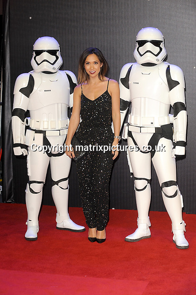 NON EXCLUSIVE PICTURE: PAUL TREADWAY / MATRIXPICTURES.CO.UK<br /> PLEASE CREDIT ALL USES<br /> <br /> WORLD RIGHTS<br /> <br /> British media personality Myleene Klass attending the European Premiere of Star Wars: The Force Awakens in Leicester Square, London.<br /> <br /> DECEMBER 16th 2015<br /> <br /> REF: PTY 153700