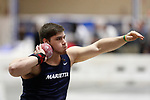 NAPERVILLE, IL - MARCH 11:  Lawson Monta of Marietta College competes in the shot put at the Division III Men's and Women's Indoor Track and Field Championship held at the Res/Rec Center on the North Central College campus on March 11, 2017 in Naperville, Illinois. (Photo by Steve Woltmann/NCAA Photos via Getty Images)