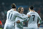 Real Madrid´s Gareth Bale celebrates a goal with Cristiano Ronaldo and Luka Modric during 2015/16 La Liga match between Real Madrid and Deportivo de la Coruna at Santiago Bernabeu stadium in Madrid, Spain. January 09, 2015. (ALTERPHOTOS/Victor Blanco)