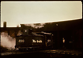 D&amp;RGW #499 K-37 entering roundhouse from turntable - Alamosa.<br /> D&amp;RGW  Alamosa, CO