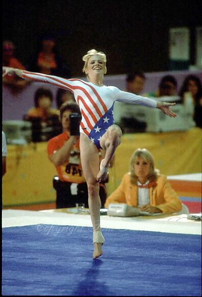 August 6, 1984; Los Angeles, California, USA; Artistic gymnastics star Julianne McNamara of USA performs floor exercise in event final at 1984 Los Angeles Olympics. Copyright 1984 Tom Theobald