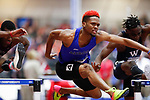 NAPERVILLE, IL - MARCH 11: Bobby Cooks of Aurora University competes in the 60 meter hurdles at the Division III Men's and Women's Indoor Track and Field Championship held at the Res/Rec Center on the North Central College campus on March 11, 2017 in Naperville, Illinois. (Photo by Steve Woltmann/NCAA Photos via Getty Images)