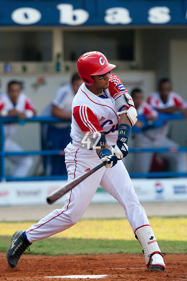 27 September 2009: Yulieski Gourriel of Cuba is seen at bat during the 2009 Baseball World Cup gold medal game won 10-5 by Team USA over Cuba, in Nettuno, Italy.