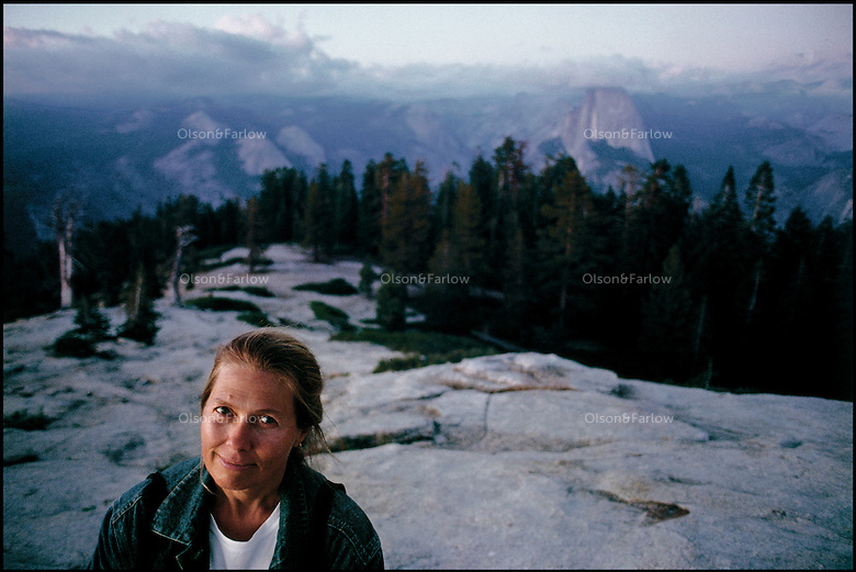 Melissa Farlow on assignment for National Geographic magazine near Half Dome in Yosemite National Park.