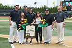 Wake Forest Demon Deacons head student manager Frankie Scimeca is honored on Senior Day prior to the game against the Virginia Cavaliers at David F. Couch Ballpark on May 19, 2018 in  Winston-Salem, North Carolina. The Demon Deacons defeated the Cavaliers 18-12. (Brian Westerholt/Four Seam Images)