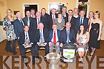 PRESENTATION: Donal O'Leary on behalf of the Kerry Supporters Club made Special Presentations to Pat O'Shea (Kerry Senior Team Manager), Jerome Conway (CO-Board Chairman), Sean Walsh (Vice Chairman Munster Council) and Ashley Prenderville (Ballymacelligott Handballer) in Ballygarry House Hotel & Spa on Saturday night at the Kerry Supporters Club Gala Dinner. Pictured front l-r: Pat O'Shea, Jerome Conway, Donal O'Leary, Sean Walsh and Ashley Prenderville. Back : Niamh Dempsey, Jimmy Shanahan, John Slattery, Jerry Brosnan, Kit Ryan, Martin Leane, Jim Moriarty, Leanne Ryan, John O'Connell, Ger Jennings, John King, Pat King, Denis Reen and Brian Shanahan (Committee members of Kerry Supporters Club).   Copyright Kerry's Eye 2008