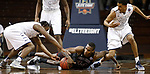 SIOUX FALLS, SD: MARCH 22: Isaiah Ellis #44 of Chico State (on floor) and Trevon Shaw #14 of Lincoln Memorial (at left) go for a loose ball as Paul Woodson #35 of Lincoln Memorial looks on during the Men's Division II Basketball Championship Tournament on March 22, 2017 at the Sanford Pentagon in Sioux Falls, SD. (Photo by Dick Carlson/Inertia)