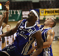 Saints players Damon Thornton and Brendon Polybank during the National Basketball League match Wellington Saints and Harbour Heat at TSB Bank Arena, Wellington, New Zealand on Saturday 13 June 2009. Photo: Dave Lintott / lintottphoto.co.nz