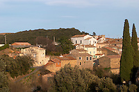 Village and Chateau de La Liquiere Faugeres. Languedoc. France. Europe.