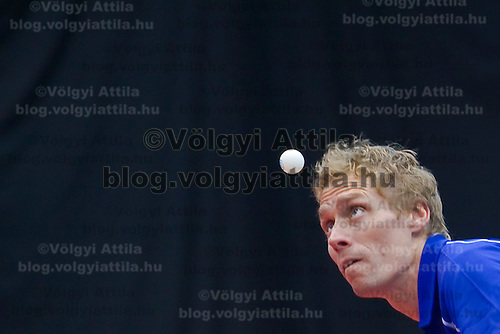 Jörgen Persson serves during BVSC European cup table tennis competition held in Round Stadium.