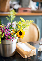 Fresh flowers await customers at Merritt's Store and Grill in Chapel Hill, NC.