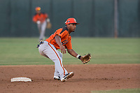 AZL Giants Orange second baseman Wascer De Leon (34) prepares to receive the ball on a stolen base attempt during an Arizona League game against the AZL Athletics at Lew Wolff Training Complex on June 25, 2018 in Mesa, Arizona. AZL Giants Orange defeated the AZL Athletics 7-5. (Zachary Lucy/Four Seam Images)