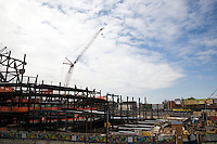 Construction on Atlantic Yards, a commercial and residential development project of high-rise buildings and the Barclays Center, on 30 April 2011.  The Barclays Center will serve as the home of the New Jersey Nets in Prospect Heights, Brooklyn, New York.