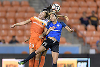 Houston, TX - Sunday August 13, 2017: Cami Privett and Sydney Leroux during a regular season National Women's Soccer League (NWSL) match between the Houston Dash and FC Kansas City at BBVA Compass Stadium.