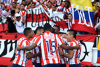 BARRANQUILLA  -COLOMBIA, 25-MARZO-2015. Edison Toloza jugador del Atletico Junior celebra su gol con sus companeros  contra  Patriotas de Boyaca durante partido por la fecha 1 de la Liga  çguila I 2015 jugado en el estadio Metropolitano  de la ciudad de Barranquilla./ Edison Toloza player of Atletico Junir  celebrates his goal  against of Patriotas during the match for the first date of the Liga  Aguila I 2015 played at Metropolitano  stadium in Barranquilla city<br />