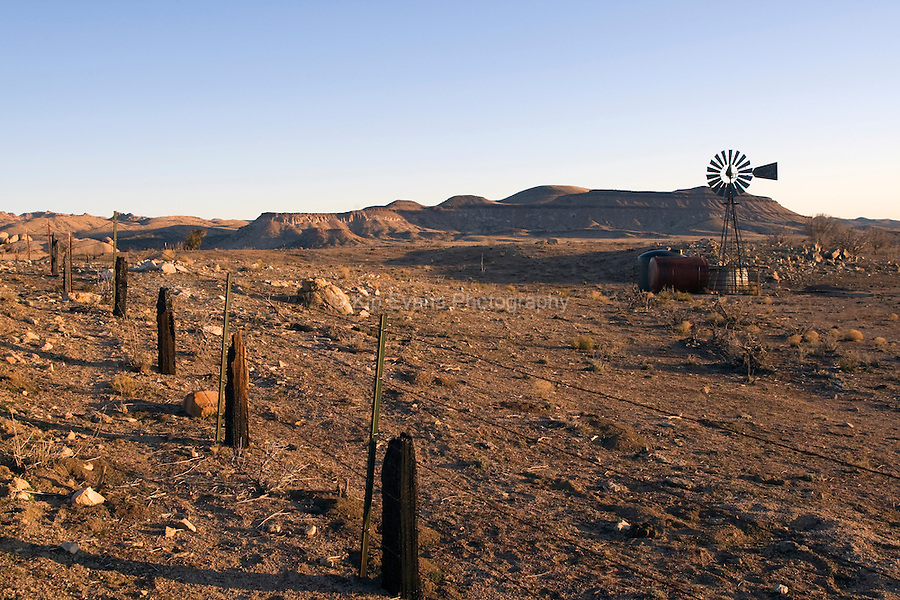 An old windmill in a farm in the Mojave Desert, California.