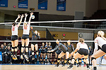 GRAND RAPIDS, MI - NOVEMBER 18: Maddie Fischer (18) and Aubrey Cox (10) of Wittenberg University leap to block a shot by Shelbi Stein (3) of Claremont-Mudd-Scripps during the Division III Women's Volleyball Championship held at Van Noord Arena on November 18, 2017 in Grand Rapids, Michigan. Claremont-M-S defeated Wittenberg 3-0 to win the National Championship. (Photo by Doug Stroud/NCAA Photos via Getty Images)