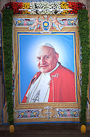 Popes John XXIII,Pope Francis during the canonisation mass of Popes John XXIII and John Paul II on St Peter's at the Vatican on April 27, 2014.