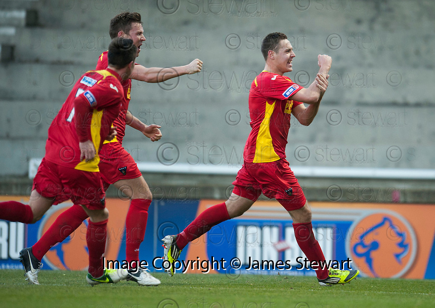 Pars' Stephen Husband (right) celebrates after he scores Dunfermline's first ....