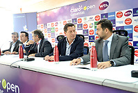 BOGOTA - COLOMBIA - 13 - 03 - 2018: Jahn Fontalvo (Izq.) de Gran Slam Producciones y Director General del Claro Colsanitas WTA 2018, Orlando Merlano (2 Izq.); Director del Instituto Distrital para la Recreación y el Deporte (IDRD); Frank Harb (Cent.), Vicepresidente Comercial de Colsanitas; Gabriel De Las Casas (2 Der.), Director de Comunicaciones de Claro y Afranio Restrepo (Der.), Subdirector de Coldeportes, durante la presentación del Claro Colsanitas WTA 2018 de tenis, que se realizara en las canchas del Club Los Lagartos en la ciudad de Bogota del 7 al 15 de abril de 2018. / Jahn Fontalvo (L) of Gran Slam Productions and General Director of Claro Colsanitas WTA 2018, Orlando Merlano (2 L); Director of the District Institute for Recreation and Sports (IDRD); Frank Harb (C), Commercial Vice President of Colsanitas; Gabriel De Las Casas (2 R), Communications Director of Claro and Afranio Restrepo (R), Deputy Director of Coldeportes, during the presentation of the Claro Colsanitas WTA 2018 of Tennis Championships, to be held in the courts of the Club Los Lagartos in Bogota city, from 7 to April 15, 2018. Photo: VizzorImage / Luis Ramirez / Staff.