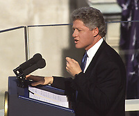 Washington DC., USA, January  20th 1993.<br /> Capital Hill William Clinton delivers his inaugural speech after being sworn in as  the 42nd President of the United States. Credit: Mark Reinstein/MediaPunch