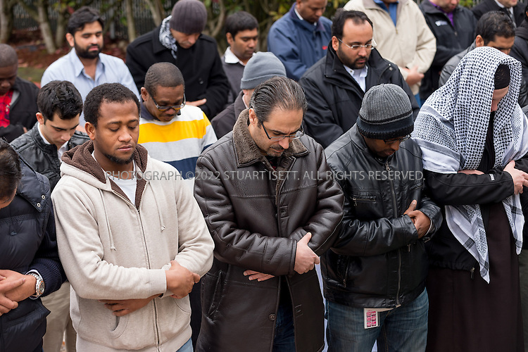"""2/8/2013--Bellevue, WA, USA..Friday midday prayers at the the """"Bellevue mosque"""", officially known as the Islamic Center of Eastside, spill out into the parking lot and garden as the community has grown so much in recent years...©2013 Stuart Isett. All rights reserved."""