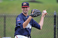 Pitcher Zach Rice (46) of the Danville Braves warms up before in a game against the Johnson City Cardinals on Friday, July 1, 2016, at Legion Field at Dan Daniel Memorial Park in Danville, Virginia. Johnson City won, 1-0. (Tom Priddy/Four Seam Images)