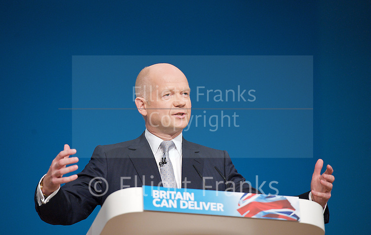 Conservative Party Conference, ICC, Birmingham, Great Britain <br /> Day 1<br /> 7th October 2012 <br /> <br /> <br /> <br /> <br /> Rt Hon William Hague MP<br /> Foreign Secretary <br /> <br /> Photograph by Elliott Franks<br /> <br /> Tel 07802 537 220 <br /> elliott@elliottfranks.com<br /> <br /> &copy;2012 Elliott Franks<br /> Agency space rates apply