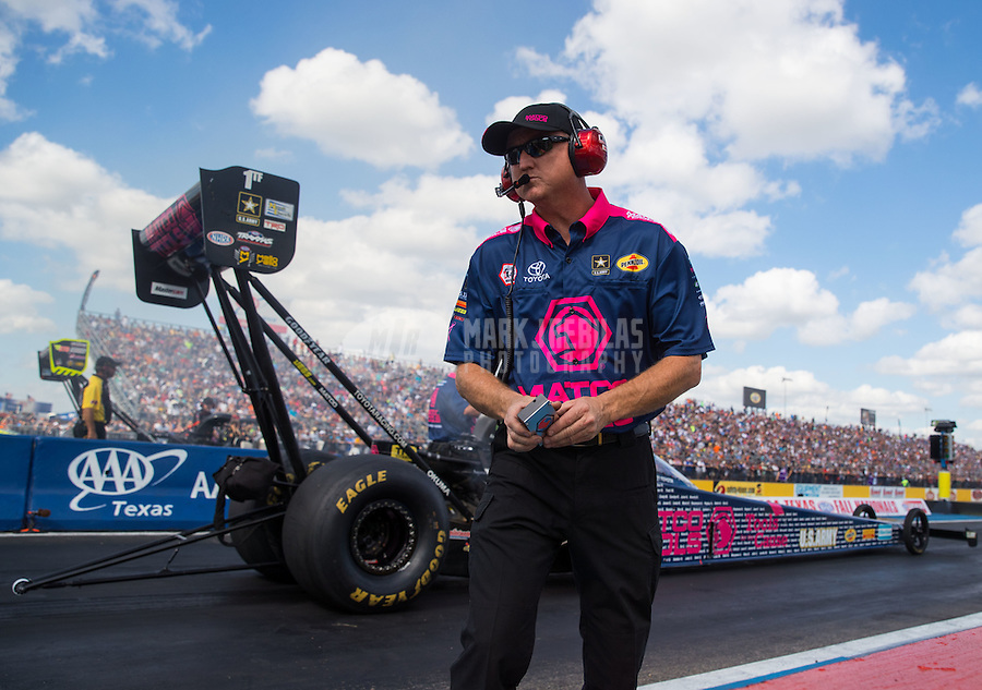 Oct 15, 2016; Ennis, TX, USA; Crew member for NHRA top fuel driver Antron Brown during qualifying for the Fall Nationals at Texas Motorplex. Mandatory Credit: Mark J. Rebilas-USA TODAY Sports