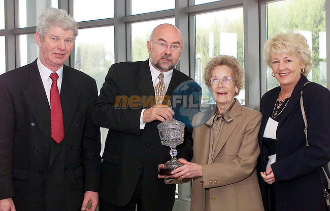 Jackie Callan, chairman of Dundalk Labour Party, Ruari Quinn, Rose Martin and Molly Ryan pictured at the DKIT where Rose Martin was presented with some crystal as a present for her 86th birthday and for being a lifelong member of the Labour Party. ...Picture  Newsfile.Supply Pic..This Picture is sent to you by:..Newsfile Ltd.The View, Millmount Abbey, Drogheda, Co Louth, Ireland..Tel: +353419871240.Fax: +353419871260.GSM: +353862500958.ISDN: +353419871010.email: pictures@newsfile.ie.www.newsfile.ie