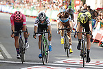 G Lawson Craddock (USA) EF Education First, Jonathan Lastra Martinez (ESP) Caja Rural-Seguros RGA, Damien Howson (AUS) Mitchelton-Scott and Francois Bidard (FRA) AG2R La Mondiale cross the finish line at the end of Stage 11 of La Vuelta 2019 running 180km from Saint Palais, France to Urdax-Dantxarinea, Spain. 4th September 2019.<br /> Picture: Luis Angel Gomez/Photogomezsport | Cyclefile<br /> <br /> All photos usage must carry mandatory copyright credit (© Cyclefile | Luis Angel Gomez/Photogomezsport)