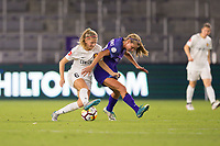 Orlando, FL - Saturday March 24, 2018: Utah Royals defender Katie Bowen (6) pushes Orlando Pride midfielder Dani Weatherholt (17) off the ball during a regular season National Women's Soccer League (NWSL) match between the Orlando Pride and the Utah Royals FC at Orlando City Stadium. The game ended in a 1-1 draw.