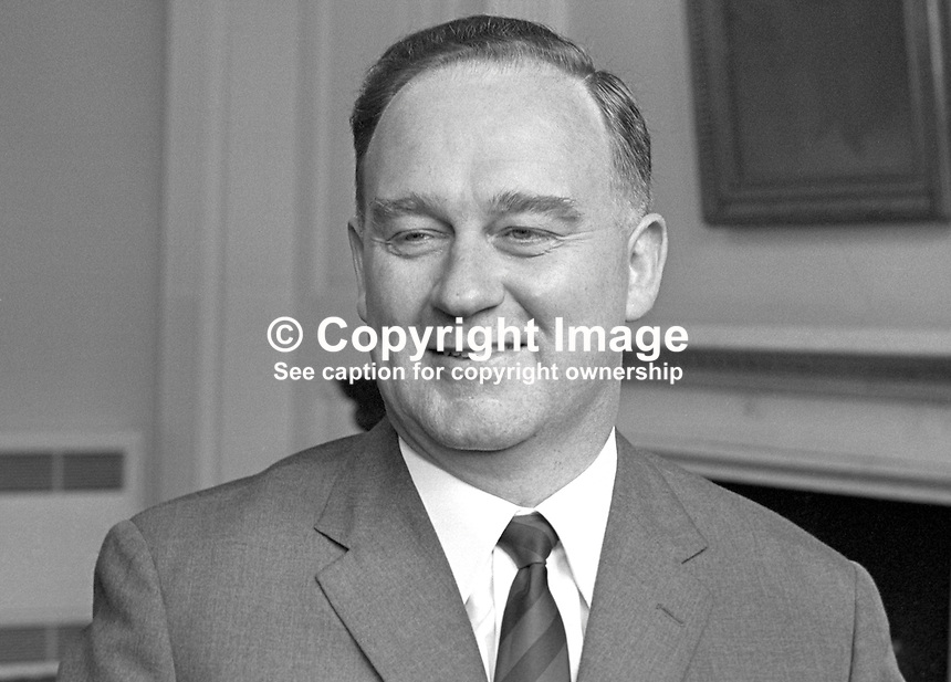William Craig, Ulster Unionist, MP, Larne, Minister of Home Affairs, N Ireland Parliament, Stormont. 196606000116b.<br />