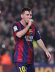 22.11.2014 Barcelona. La Liga day 12. Picture show Leo Messi. in action during game between FC Barcelona v Sevilla at Camp Nou. Leo Messi new maximun scorer from la Liga and beat Zarra 251 goals record