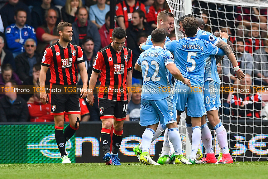 Stoke City players celebrate the first goal, an own goal scored by Lys Mousset of AFC Bournemouth during AFC Bournemouth vs Stoke City, Premier League Football at the Vitality Stadium on 6th May 2017